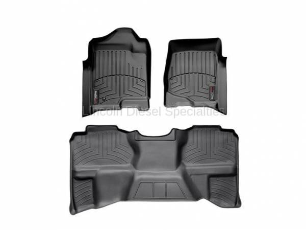 WeatherTech - WeatherTech Duramax Extended Cab Front & Rear Laser Measured Floor Liners (Black) 2007.5-2014 (Under Seat Rear Mat)