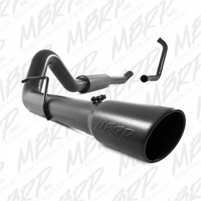 "Exhaust - Exhaust Systems - MBRP - MBRP 03-07 Ford 6.0L, EC/CC 4"" Turbo Back, Single(Stock Cat), Black Coated"