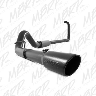 "Exhaust - Exhaust Systems - MBRP - MBRP 03-07 Ford 6.0L 4"" Turbo Back, Single, Black Coated"