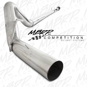 "Exhaust - Exhaust Systems - MBRP - MBRP 11-14 Ford 6.7L 4"" Downpipe Back, Single Side, w/o Bungs, w/o Muffler, T409"