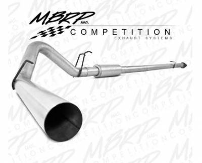 "Exhaust - Exhaust Systems - MBRP - MBRP 08-10 Ford 6.4L 4"" Downpipe Back, Single Side, w/o Bungs, w/Muffler, AL"
