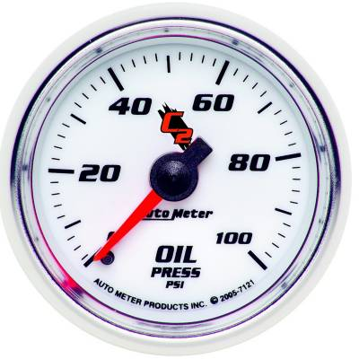 "Instrument Clusters/Gauges - Gauges - Auto Meter - AutoMeter C2 Mechanical 2-1/16"" 0-100 PSI Oil Pressure"