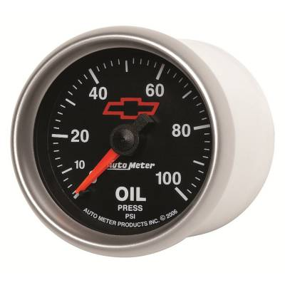 "Instrument Clusters/Gauges - Gauges - Auto Meter - AutoMeter GM Black Mechanical 2-1/16"" 0-100 PSI Oil Pressure"