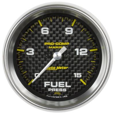 "Instrument Clusters/Gauges - Gauges - Auto Meter - AutoMeter Marine Carbon Fiber Digital 2-1/16"" 0-15 PSI Fuel Pressure"