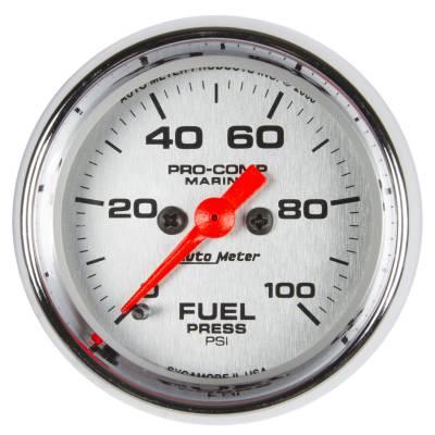 "Auto Meter - AutoMeter Marine Chrome Ultra-Lite Digital 2-1/16"" 0-100 PSI Fuel Pressure"