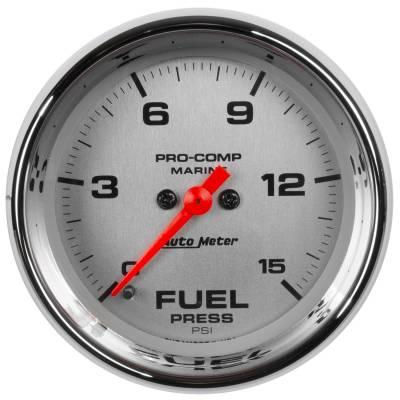 "Auto Meter - AutoMeter Marine Chrome Ultra-Lite Digital 2-1/16"" 0-15 PSI Fuel Pressure"