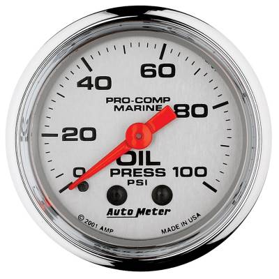 "Instrument Clusters/Gauges - Gauges - Auto Meter - AutoMeter Marine Chrome Ultra-Lite Mechanical 2-1/16"" 0-100 PSI Oil Pressure"