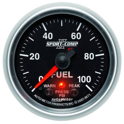 "Instrument Clusters/Gauges - Gauges - Auto Meter - AutoMeter Sport-Comp II Digital 2-1/16"" 0-100 PSI Fuel Pressure"