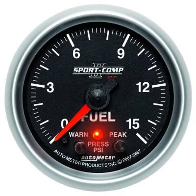 "Instrument Clusters/Gauges - Gauges - Auto Meter - AutoMeter Sport-Comp II Digital 2-1/16"" 0-15 PSI Fuel Pressure"