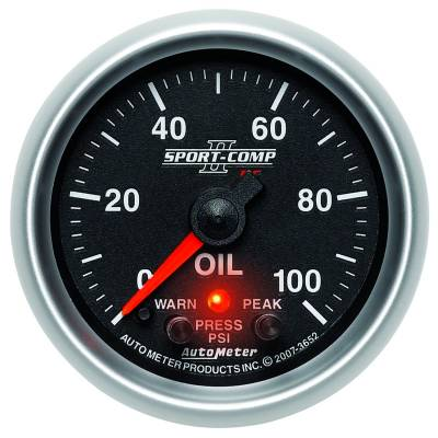 "Instrument Clusters/Gauges - Gauges - Auto Meter - AutoMeter Sport-Comp II Digital 2-1/16"" 0-100 PSI Oil Pressure"