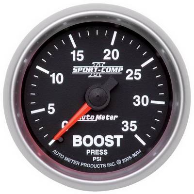 "Instrument Clusters/Gauges - Gauges - Auto Meter - AutoMeter Sport-Comp II Mechanical 2-1/16"" 0-35 PSI Boost"