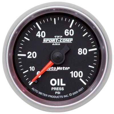 "Instrument Clusters/Gauges - Gauges - Auto Meter - AutoMeter Sport-Comp II Mechanical 2-1/16"" 0-100 PSI Oil Pressure"