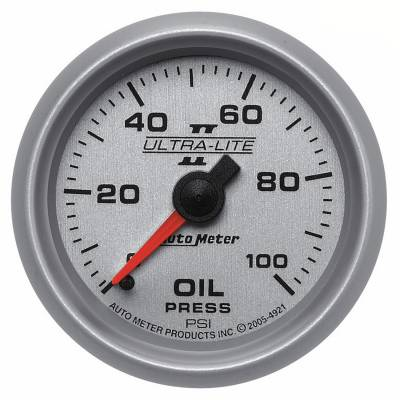 "Instrument Clusters/Gauges - Gauges - Auto Meter - AutoMeter Ultra-Lite II Mechanical 2-1/16"" 0-100 PSI Oil Pressure"