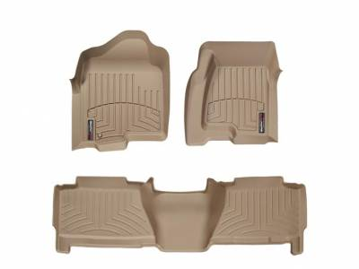 Interior Accessories - Accessories - WeatherTech - WeatherTech 2004-2007 Chevrolet/GMC Crew Cab Floor Liner 1st & 2nd Row-Tan