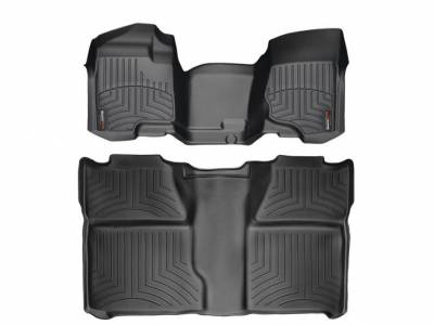 WeatherTech - WeatherTech 2007.5-2014 Chevrolet/GMC Crew Cab/Bench Seat/No Floor Shifter/ Floor Liner 1st Row Over The Hump & 2nd Row-Black