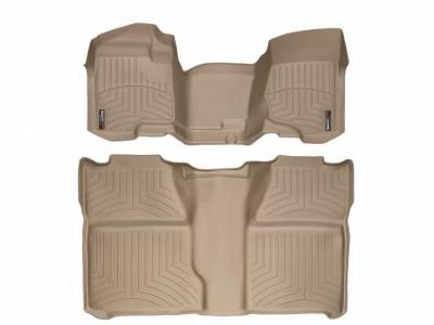 Interior Accessories - Accessories - WeatherTech - WeatherTech 2007.5-2014 Chevrolet/GMC Crew Cab/Bench Seat/No Floor Shifter/ Floor Liner 1st Row Over the Hump & 2nd Row-Tan