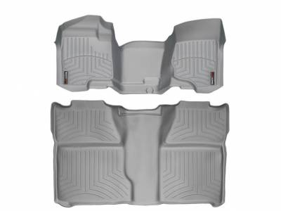 Interior Accessories - Accessories - WeatherTech - WeatherTech 2007.5-2014 Chevrolet/GMC Crew Cab/Bench Seat/No Floor Shifter/ Floor Liner 1st Row Over the Hump & 2nd Row-Grey