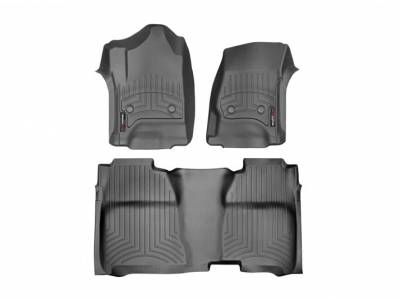 Interior Accessories - Accessories - WeatherTech - WeatherTech 2015-2016 Chevrolet/GMC Crew Cab/Bucket Seat/No Floor Shifter/ Floor Liner 1st & 2nd Row-Black (2nd Row Underseat Coverage)