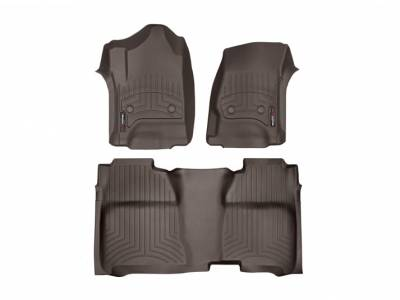 Interior Accessories - Accessories - WeatherTech - WeatherTech 2015-2016 Chevrolet/GMC Crew Cab/Bucket Seat/No Floor Shifter/ Floor Liner 1st & 2nd Row-Cocoa (2nd Row Underseat Coverage)