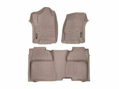 Interior Accessories - Accessories - WeatherTech - WeatherTech 2015-2016 Chevrolet/GMC Crew Cab/Bucket Seat/No Floor Shifter/ Floor Liner 1st & 2nd Row-Tan (2nd Row Underseat Coverage)