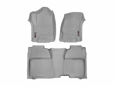 Interior Accessories - Accessories - WeatherTech - WeatherTech 2015-2016 Chevrolet/GMC Crew Cab/Bucket Seat/No Floor Shifter/ Floor Liner 1st & 2nd Row-Grey (2nd Row Underseat Coverage)