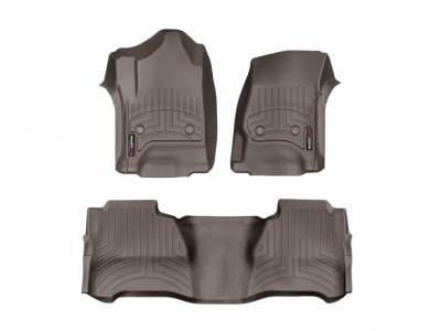 Interior Accessories - Accessories - WeatherTech - WeatherTech 2015-2016 Chevrolet/GMC Crew Cab/Bucket Seat/No Floor Shifter/ Floor Liner 1st & 2nd Row-Cocoa