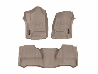Interior Accessories - Accessories - WeatherTech - WeatherTech 2015-2016 Chevrolet/GMC Crew Cab/Bucket Seat/No Floor Shifter/ Floor Liner 1st & 2nd Row-Tan