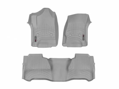 Interior Accessories - Accessories - WeatherTech - WeatherTech 2015-2016 Chevrolet/GMC Crew Cab/Bucket Seat/No Floor Shifter/ Floor Liner 1st & 2nd Row-Grey