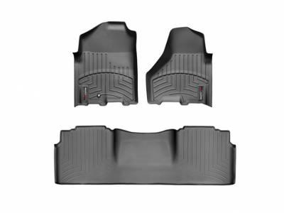 Interior Accessories - Accessories - WeatherTech - WeatherTech 2010-2012 Dodge Ram Mega Cab Floor Liner 1st & 2nd Row-Black
