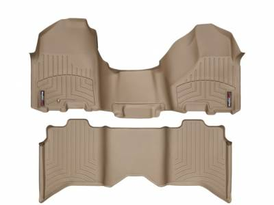 WeatherTech - WeatherTech 2009-2011 Dodge Ram Crew Cab Floor Liner 1st Row Over The Hump & 2nd Row-Tan
