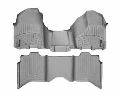 WeatherTech - WeatherTech 2009-2011 Dodge Ram Crew Cab Floor Liner 1st Row Over The Hump & 2nd Row-Grey