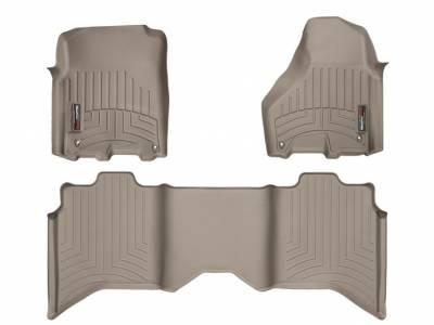 Interior Accessories - Accessories - WeatherTech - WeatherTech 2012-2017 Dodge Ram Crew Cab Floor Liner 1st & 2nd Row-Tan (Driver & Passenger-Side Floor Hooks)