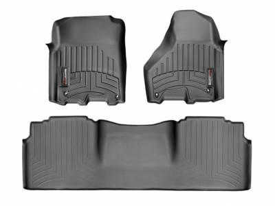 Interior Accessories - Accessories - WeatherTech - WeatherTech 2012-2017 Dodge Ram Mega Cab Floor Liner 1st & 2nd Row-Black (Driver & Passenger-Side Floor Hooks)