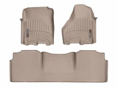Interior Accessories - Accessories - WeatherTech - WeatherTech 2012-2017 Dodge Ram Mega Cab Floor Liner 1st & 2nd Row-Tan (Driver & Passenger-Side Floor Hooks)