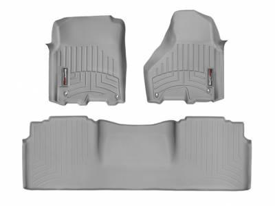 Interior Accessories - Accessories - WeatherTech - WeatherTech 2012-2017 Dodge Ram Mega Cab Floor Liner 1st & 2nd Row-Grey (Driver & Passenger-Side Floor Hooks)