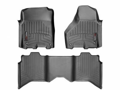 Interior Accessories - Accessories - WeatherTech - WeatherTech 2015 Dodge Ram Quad Cab Floor Liner 1st & 2nd Row-Black (Driver & Passenger-Side Floor Hooks)