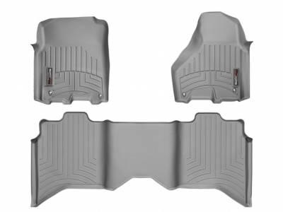Interior Accessories - Accessories - WeatherTech - WeatherTech 2015 Dodge Ram Quad Cab Floor Liner 1st & 2nd Row-Grey (Driver & Passenger-Side Floor Hooks)