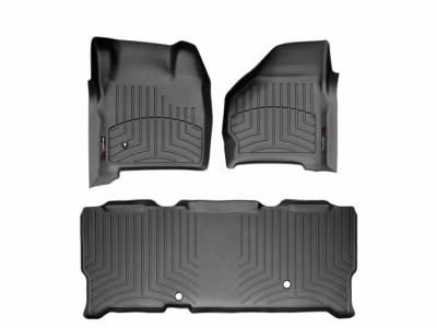 WeatherTech - WeatherTech 1999-2007 SuperCab Ford Floor Liner 1st & 2nd Row-Black- (without floor shifter)