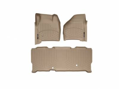 WeatherTech - WeatherTech 1999-2007 SuperCab Ford Floor Liner 1st & 2nd Row-Tan- (without floor shifter)