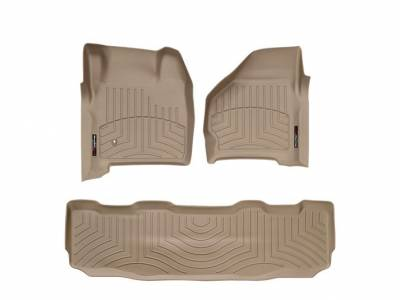WeatherTech - WeatherTech 1999-2007 SuperCrew Ford Floor Liner 1st & 2nd Row-Tan- (without floor shifter)