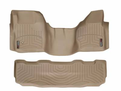 WeatherTech - WeatherTech 2008-2010 SuperCrew Ford Floor Liner 1st Row Over The Hump & 2nd Row-Tan