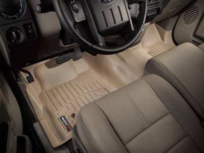 WeatherTech - WeatherTech 2008-2010 SuperCab & SuperCrew Ford Floor Liner 1st Row Over The Hump-Tan