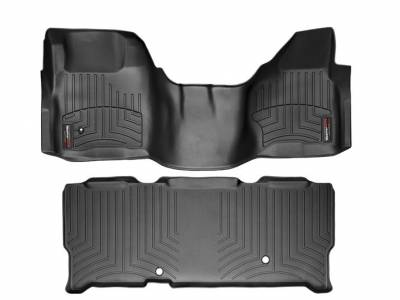 WeatherTech - WeatherTech 2008-2010 SuperCab Ford Floor Liner 1st Row Over The Hump & 2nd Row-Black
