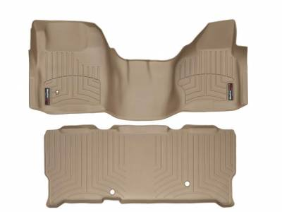 WeatherTech - WeatherTech 2008-2010 SuperCab Ford Floor Liner 1st Row Over The Hump & 2nd Row-Tan