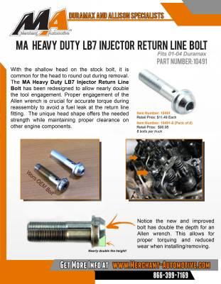 Merchant Automotive - Merchant 01-04 LB7 HD Injector Return Line Bolts at Injector - Image 2