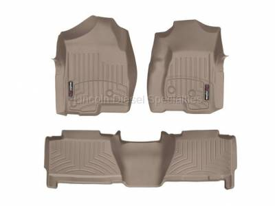 Interior Accessories - Accessories - WeatherTech - WeatherTech Duramax Crew Cab Front & Rear Laser Measured Floor Liners (Tan) 2001-2007