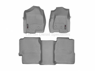 Interior Accessories - Accessories - WeatherTech - WeatherTech Duramax Extended Cab Front & Rear Laser Measured Floor Liners (Grey) 2001-2007(Under Seat Rear Mat)
