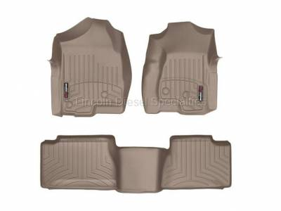 Interior Accessories - Accessories - WeatherTech - WeatherTech Duramax Extended Cab Front & Rear Laser Measured Floor Liners (Tan) 2001-2007(Std.Rear Mat)