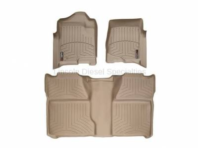 Interior Accessories - Accessories - WeatherTech - WeatherTech Duramax Crew Cab Front & Rear Laser Measured Floor Liners (Tan) 2007.5-2014