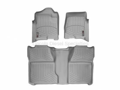 Interior Accessories - Accessories - WeatherTech - WeatherTech Duramax Crew Cab Front & Rear Laser Measured Floor Liners (Grey) 2007.5-2014